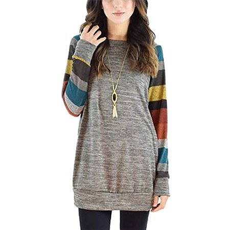 877c4dcb008e4 Vista - Womens Casual Long Sleeve Lightweight Tunic Shirt Splicing  Sweatshirt Tops - Walmart.com