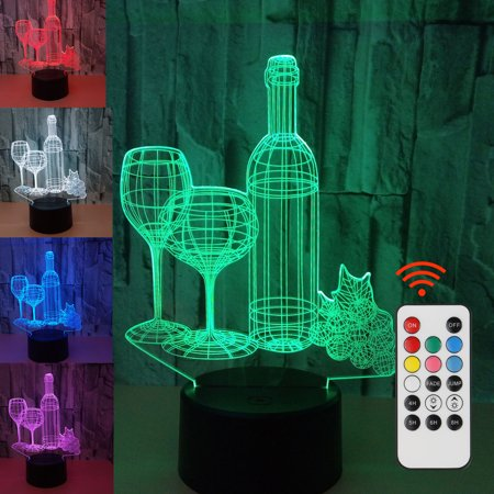 EEEKit 3D Touch Wine Cup Bottle Table Lamp, LED Illusion Desk Night Light 7 Color Changing Touch Switch Supports USB Charging Birthday Gift Toys Home Bedroom Bedside Bar Decoration - Wine Bottle Table Numbers