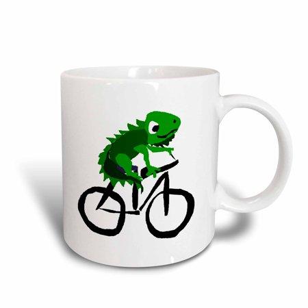 3dRose Funny Green Iguana Riding Bicycle Primitive Art, Ceramic Mug, 11-ounce