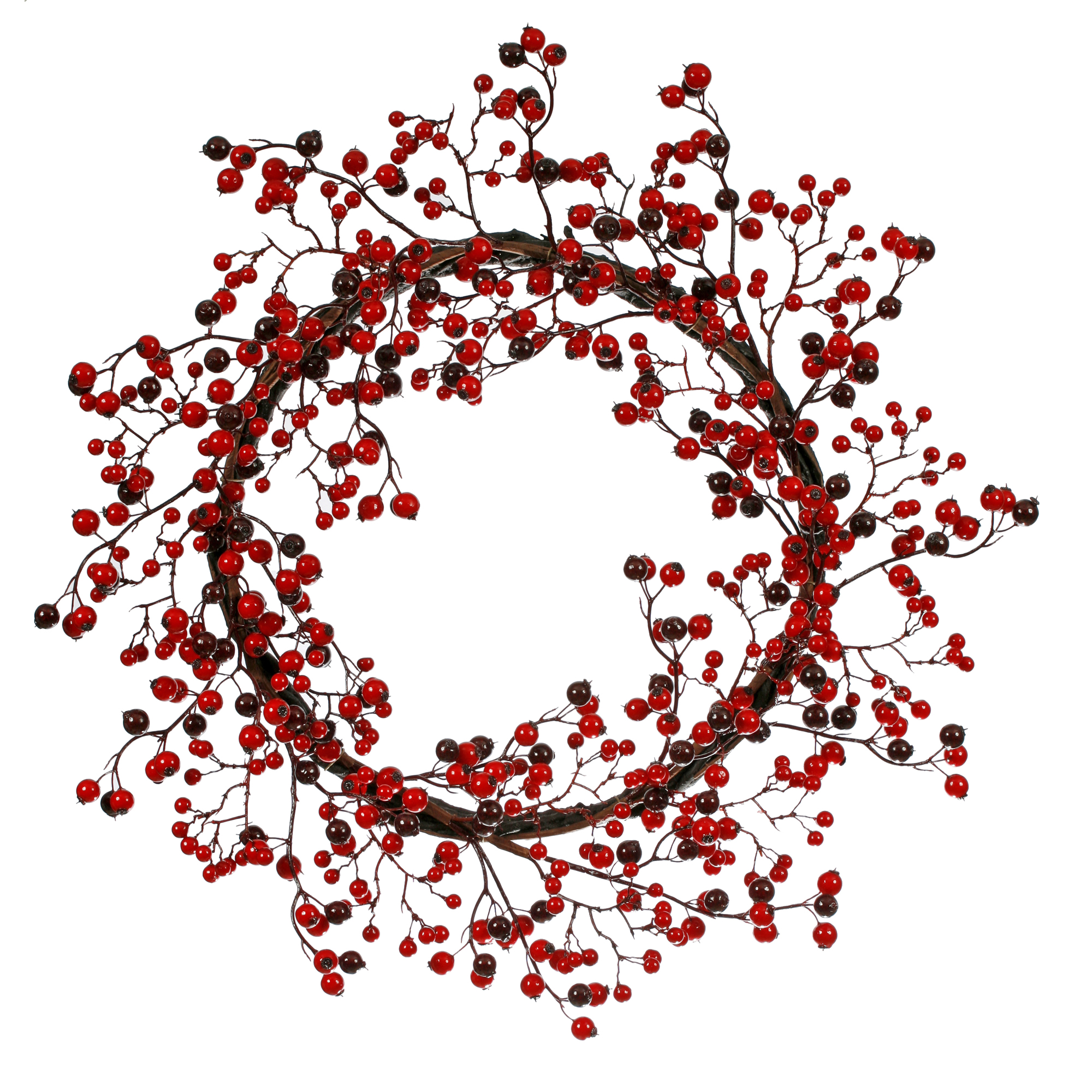 "Vickerman 22"" Red/Burgundy Mixed Berry Wreath Outdoor Use"