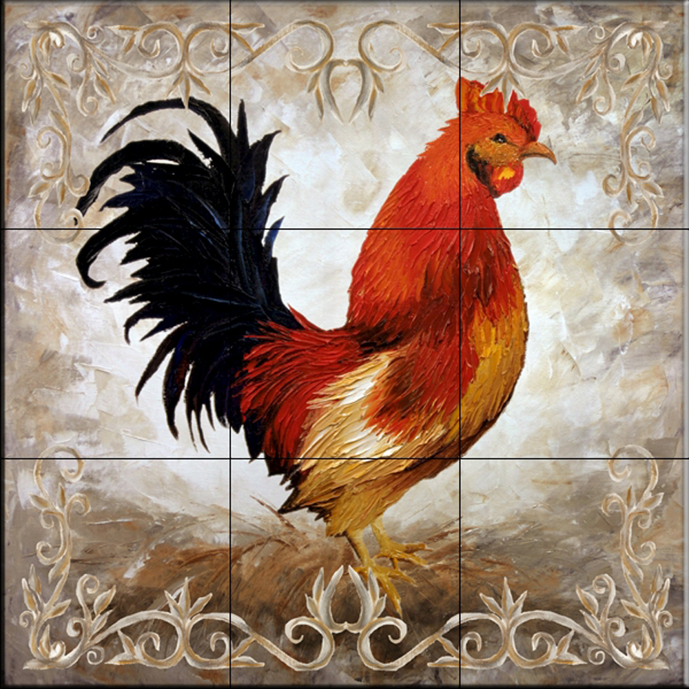 - Ceramic Tile Mural - Rooster II - By Malenda Trick - Kitchen