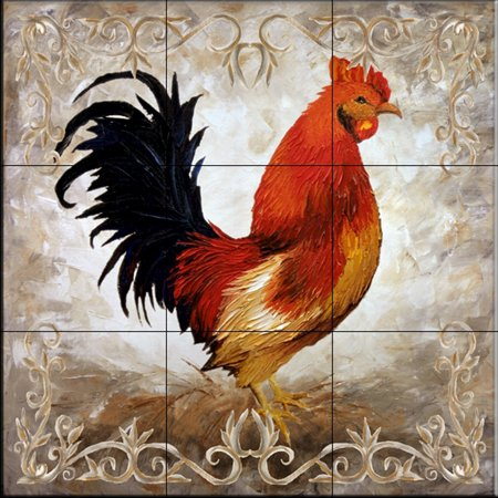 Ceramic Tile Mural - Rooster II - by Malenda Trick - Kitchen backsplash / Bathroom -