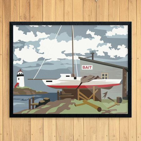 Paint By Number Style Bait Shop & Sailboat 11 x 14 Print (Bait Shop)