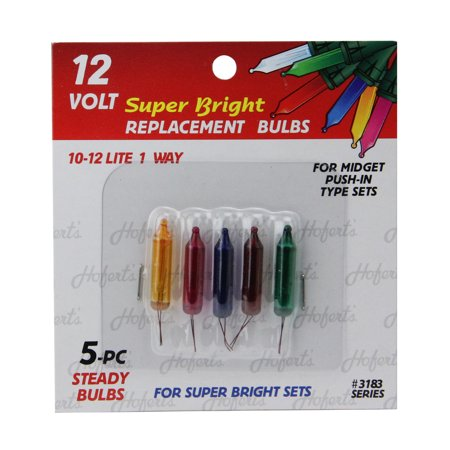 Pack of 5 Multi-Color Push-In Mini Replacement Christmas Light Bulbs - 12 -