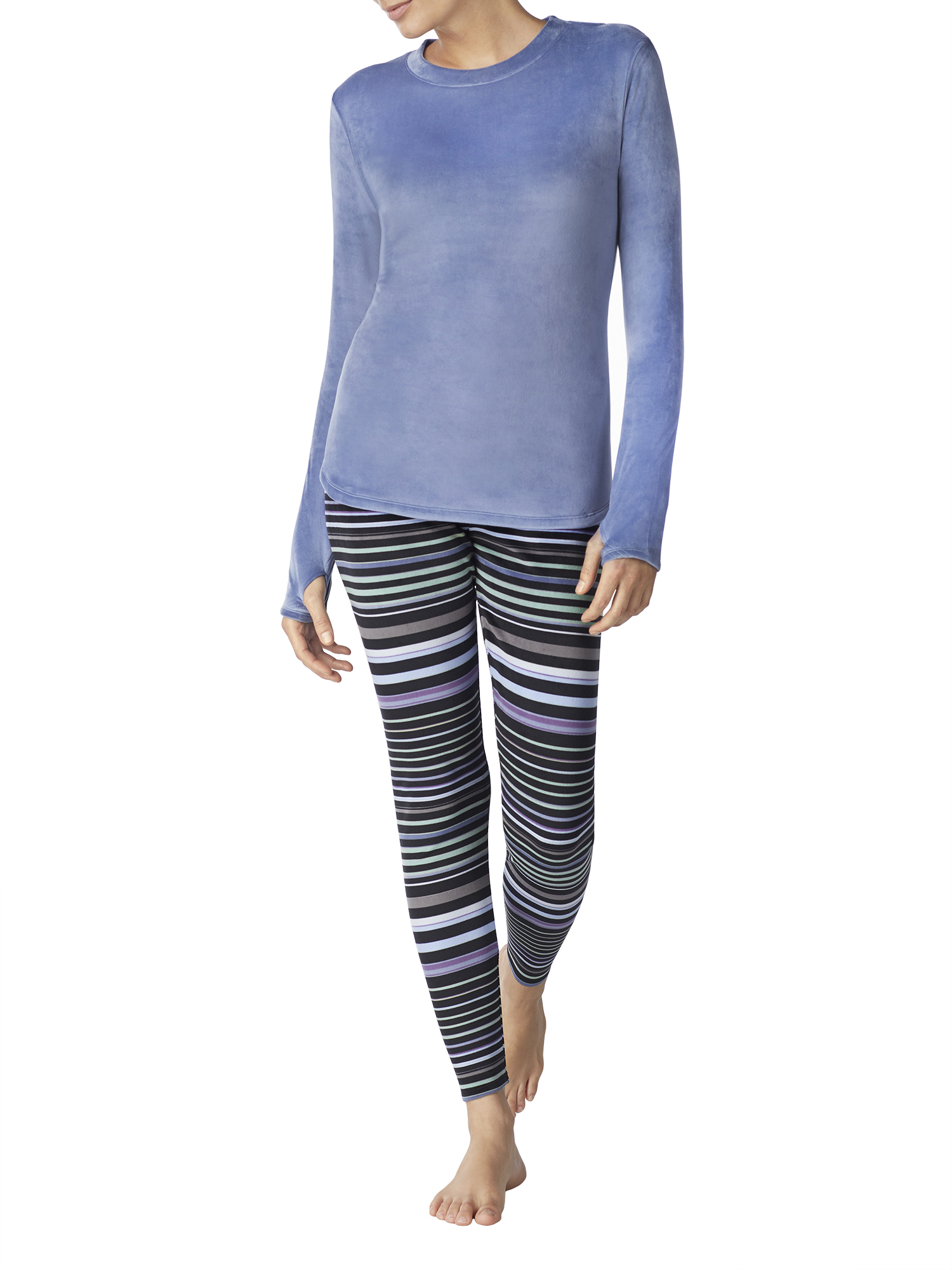 6037c59f54b510 ClimateRight by Cuddl Duds - Stretch luxe velour Warm Underwear Top and  Legging - Walmart.com