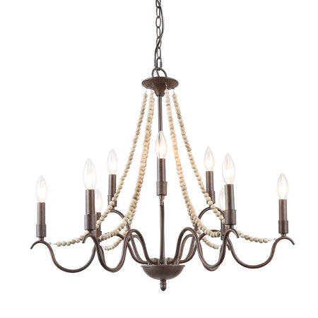 LNC French Country Chandeliers Industrial Lighting Fixtures Wood Beads 9-Light Chandeliers for Living Room/Dining Room/Bedroom (French Country Light Fixtures)