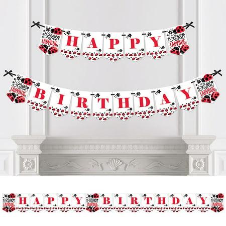 Happy Little Ladybug - Birthday Party Bunting Banner - Birthday Party Decorations - Happy Birthday - Ladybug Birthday