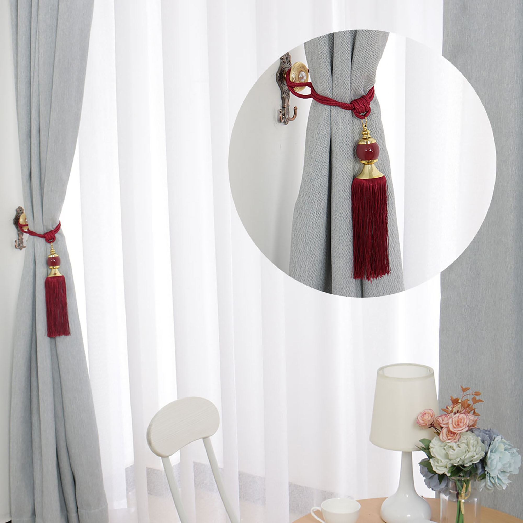 4pcs Curtain Tie Rope Tassel Curtain Rope Curtain Tieback for Home Hotel