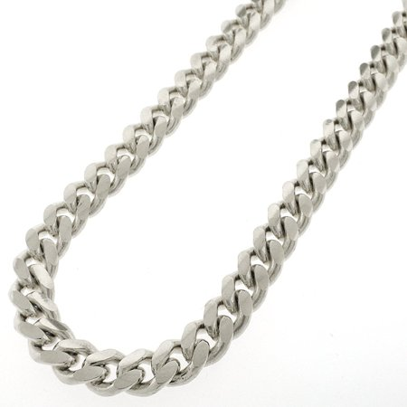"""Sterling Silver 10.5mm Miami Cuban Curb Link Thick Solid 925 Rhodium Chain Necklace 24"""" - 36"""""""