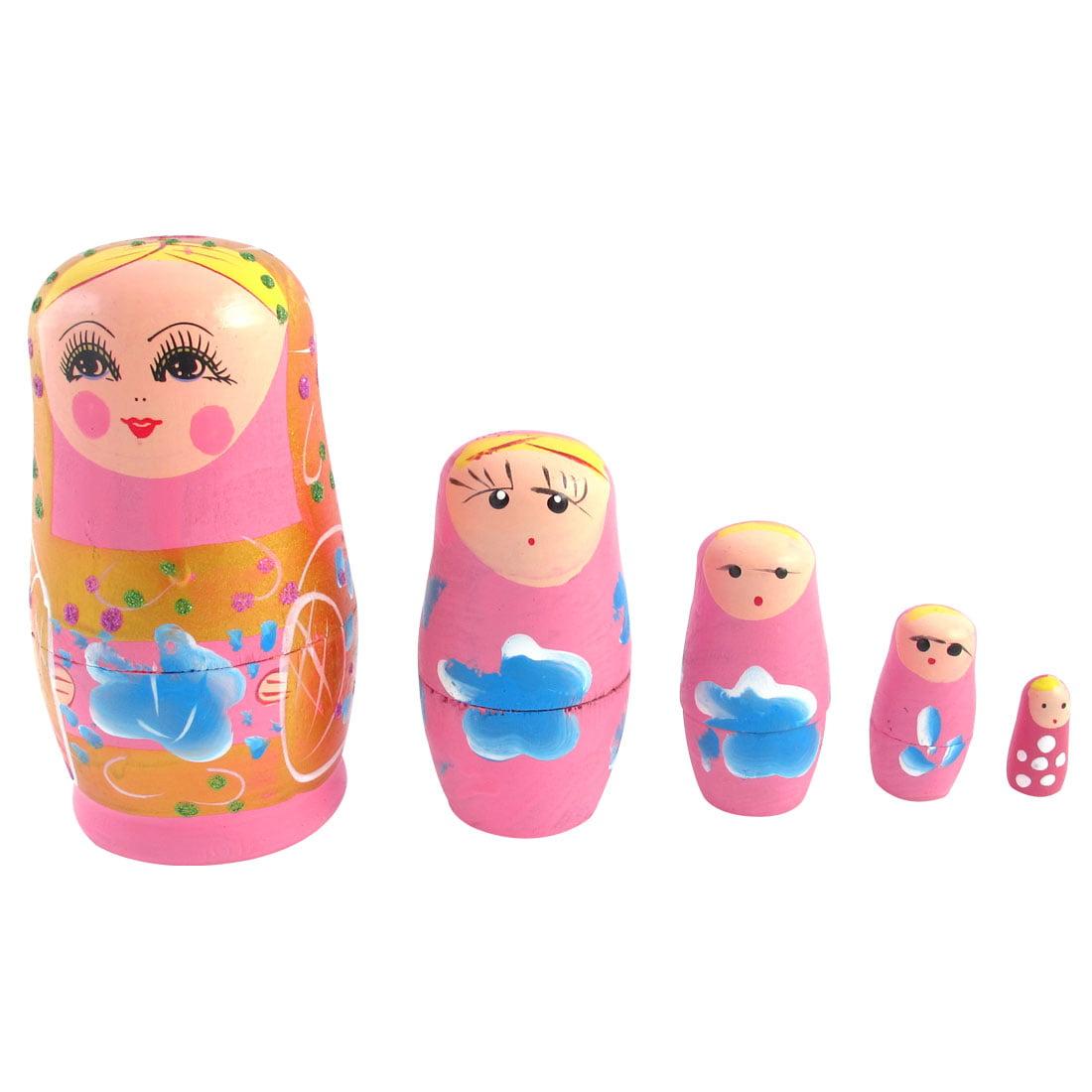 Unique Bargains Russian Babushka Petal Painted 5 Layers Stacking Nesting Matryoshka Doll Pink