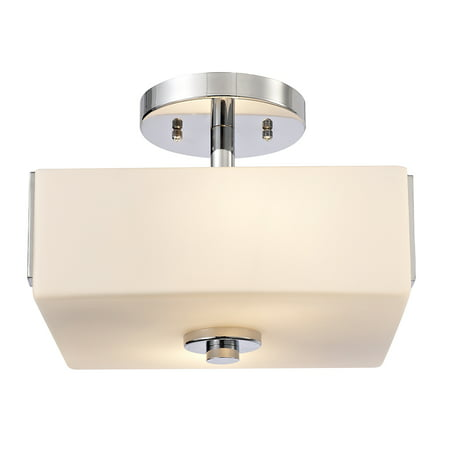 Design House 579110 Karsen Traditional 2-Light Indoor Semi Flush Ceiling Light Dimmable Frosted Glass for Bedroom Dining Room Kitchen, Polished Chrome