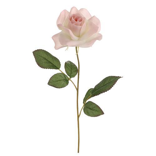 "20"" Artificial Single Light Peach Pink Rose Silk Flower Spray"