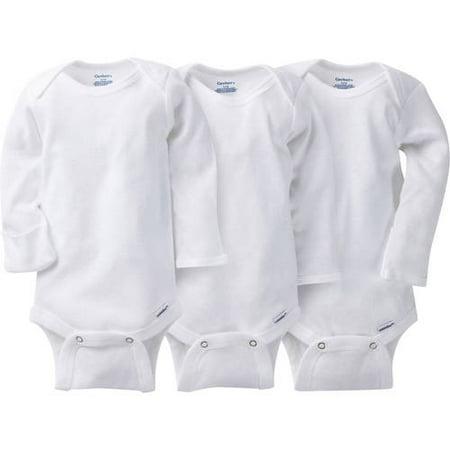 Gerber Newborn Baby Unisex Long Sleeve Bodysuit, 3-Pack