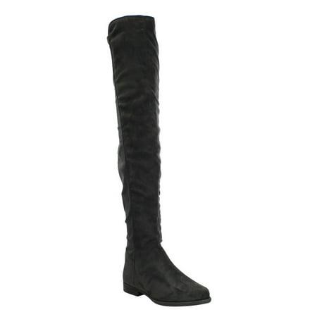 53fe3c9f36d2 LILIANA EF16 Women s Thigh High Side Zipper Slouchy Flat Dress Boots ...