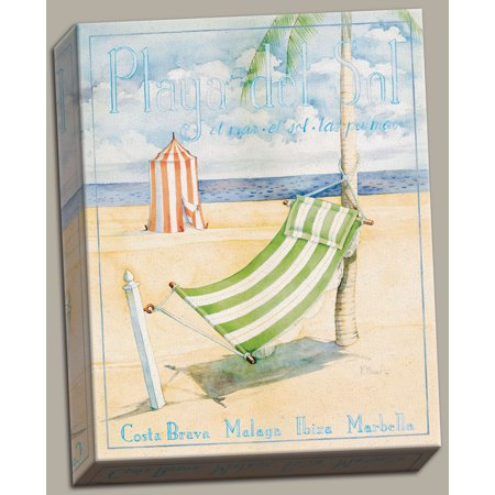 Canvas Playa Del Sol - Large- Green Hammock on a French Beach; One 16x20 Hand-Stretched - Beach One Light