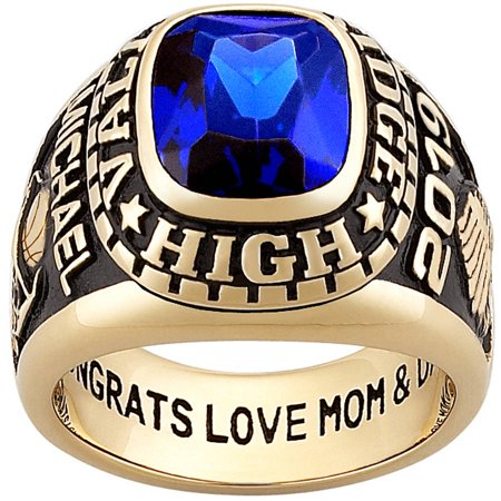 Personalized Men's 18kt Gold over Silver Large Stone Class (Gold Class Ring)