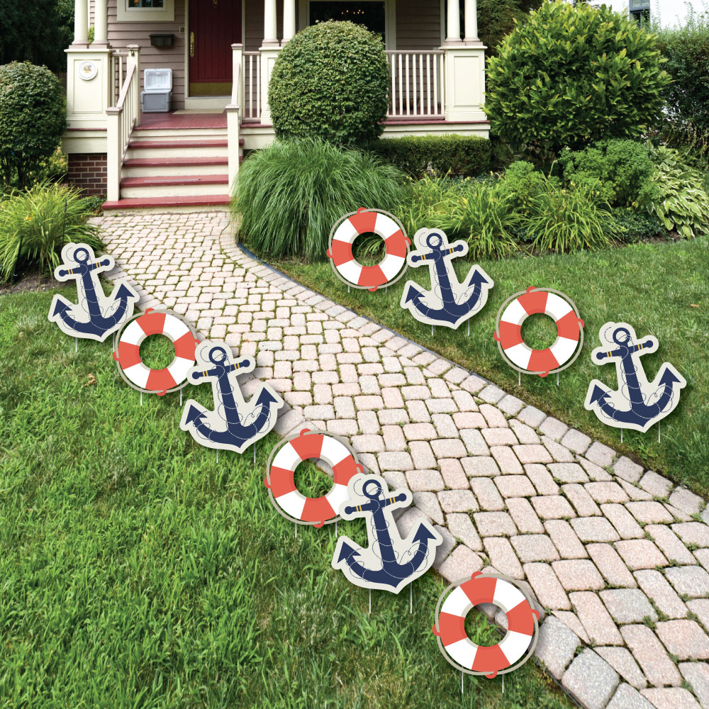 Ahoy - Nautical Anchor Lawn Decorations - Outdoor Baby Shower or Birthday Party Yard Decorations - 10 Piece