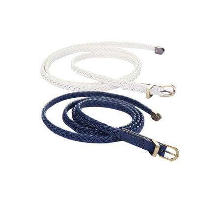 Unique Bargains Women's Arrow Tail Matel Keeper Woven Slender Belt Navy Blue+White - image 3 de 7