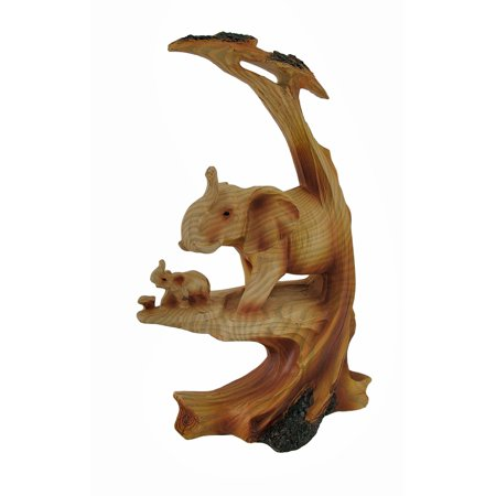 Trunk Up Mother Elephant and Calf Faux Wood Carving Statue