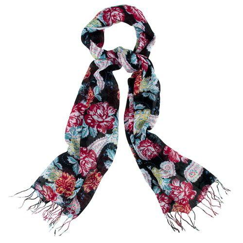 George Large Floral Print Wrap, Black/Multi
