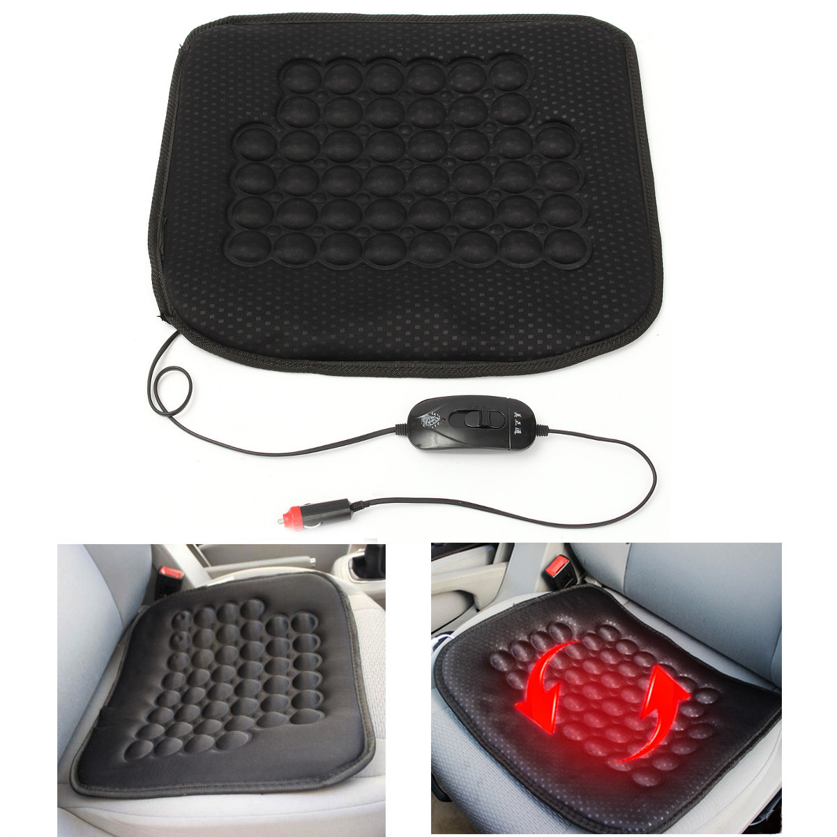 12V 30W Car Front Seat Heated Cushion Hot Cover Warmer Pad for  Auto SUV Truck Cold Weather and Winter Driving, Black