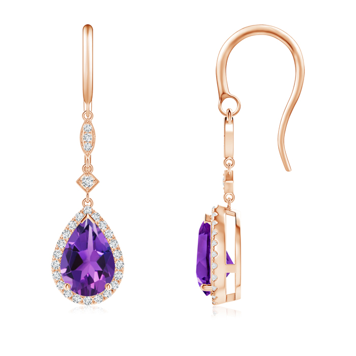 Angara Amethyst Drop Earrings in Rose Gold FcVvK