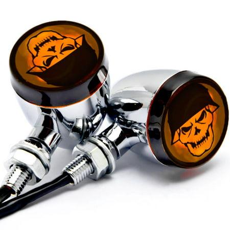 Krator 2pc Skull Lens Chrome Motorcycle Turn Signals Bulb For Honda Shadow Aero Phantom VLX 750 1100