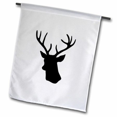 Image of 3dRose Deer Head Silhouette, Modern Stag with Antlers Shadow Polyester 1'6'' x 1' Garden Flag