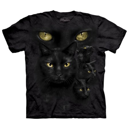 The Mountain Black Cotton Black Cat Moon Design Novelty Parody Adult T Shirt