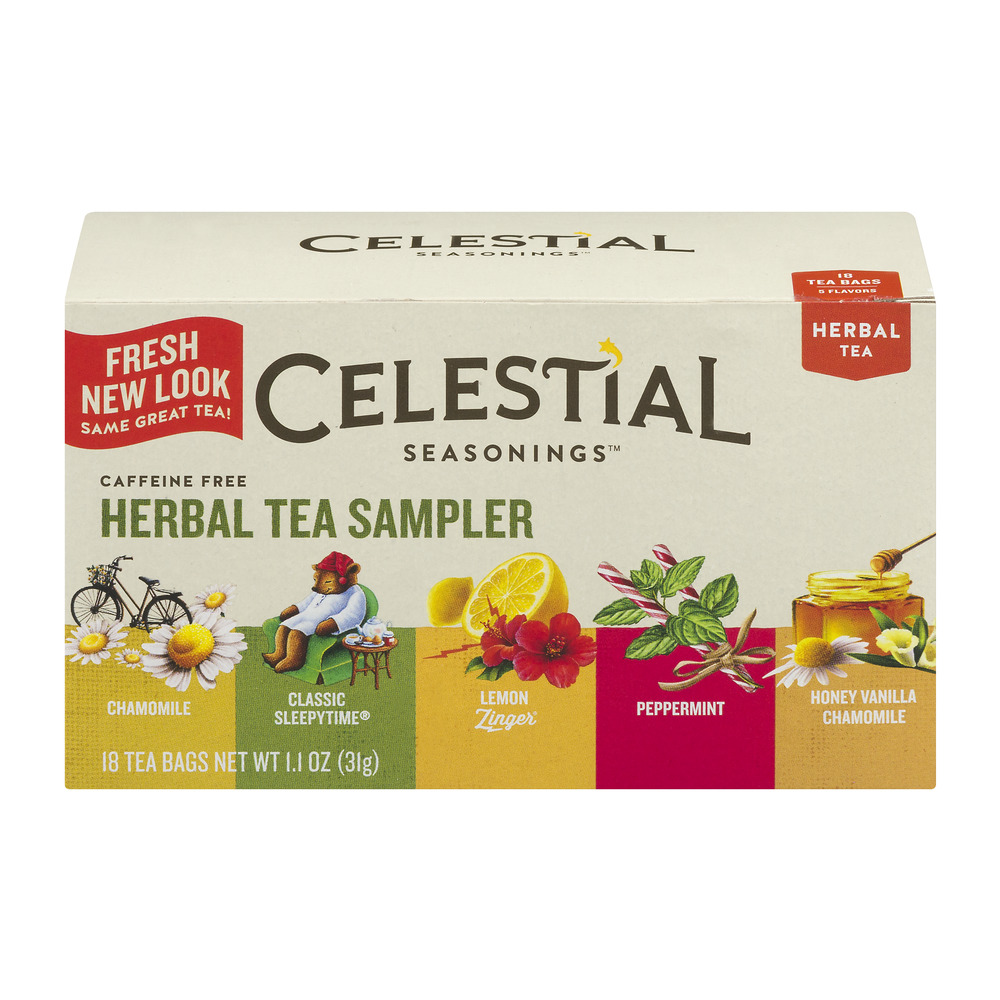 (3 Pack) Celestial Seasonings Herbal Tea, Herbal Tea Sampler, 18 Count