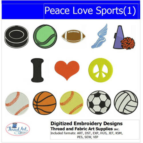 Threadart Machine Embroidery Designs Peace Love Sports(1) CD