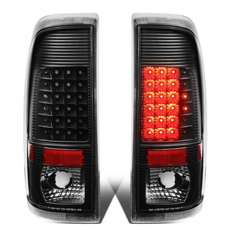 For 1997 to 2007 Ford F150 / Super Duty Styleside Pair of LED Tail Brake Lights (Black Housing Clear