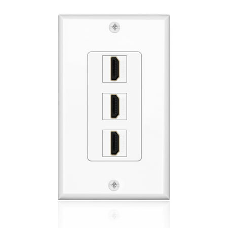 HDMI Wall Plate (3 Port, White) HDMI Socket Plug Insert
