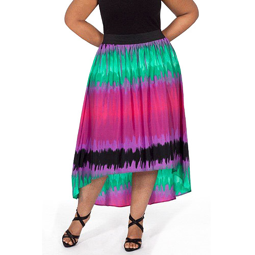 Plus Moda Women's Plus-Size Hi-Low Woven Maxi Skirt