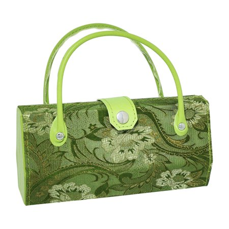Asian Silk Brocade Style Eyeglass Case Mini Handbag Design Inner Mirror Sage
