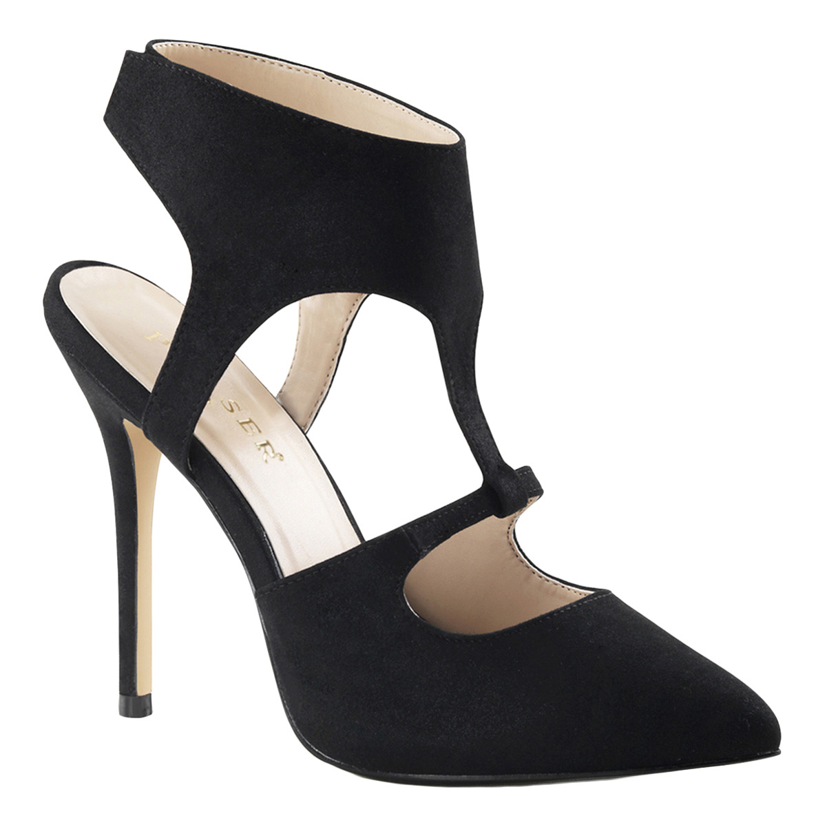 Womens Black Microfiber Sexy Shoes with 5 Inch Slim Heels and Ankle Cuff