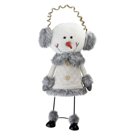 "15.5"" Winter White and Smokey Gray Decorative Snowman with Ear Muffs -"