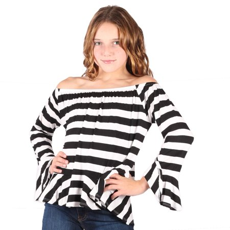 Lori & Jane Girls Black White Striped Long Sleeves Loose Fit Trendy Top
