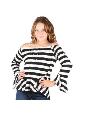 10302fb5109 Product Image Lori & Jane Girls Black White Striped Long Sleeves Loose Fit Trendy  Top