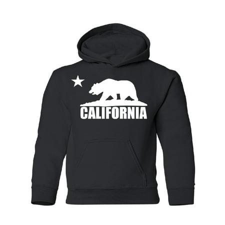 White California Bear Flag YOUTH Hoodie Sweatshirt Black YOUTH X-Large (Flag Kids Sweatshirt)