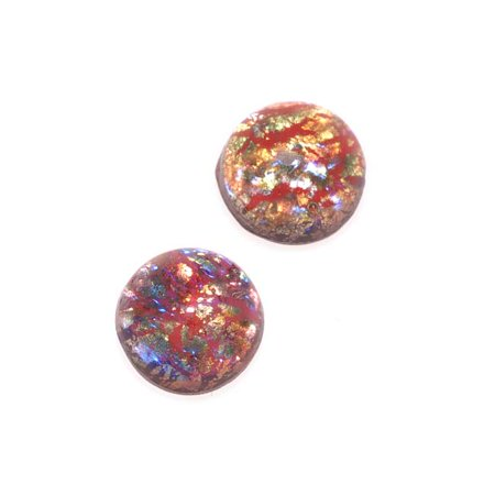 Faux Red Opal Foil Glass Cabochon Round 7mm (Making Faux Mercury Glass)