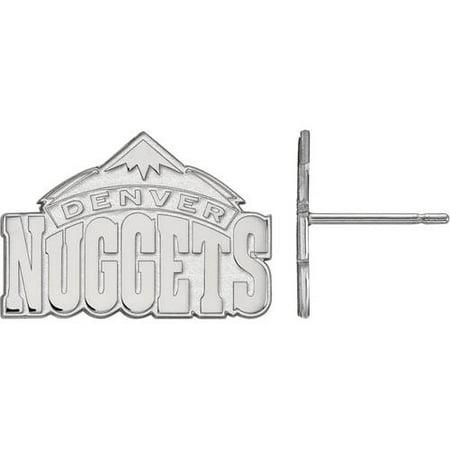 Logoart Nba Denver Nuggets 10Kt White Gold Stud Earrings