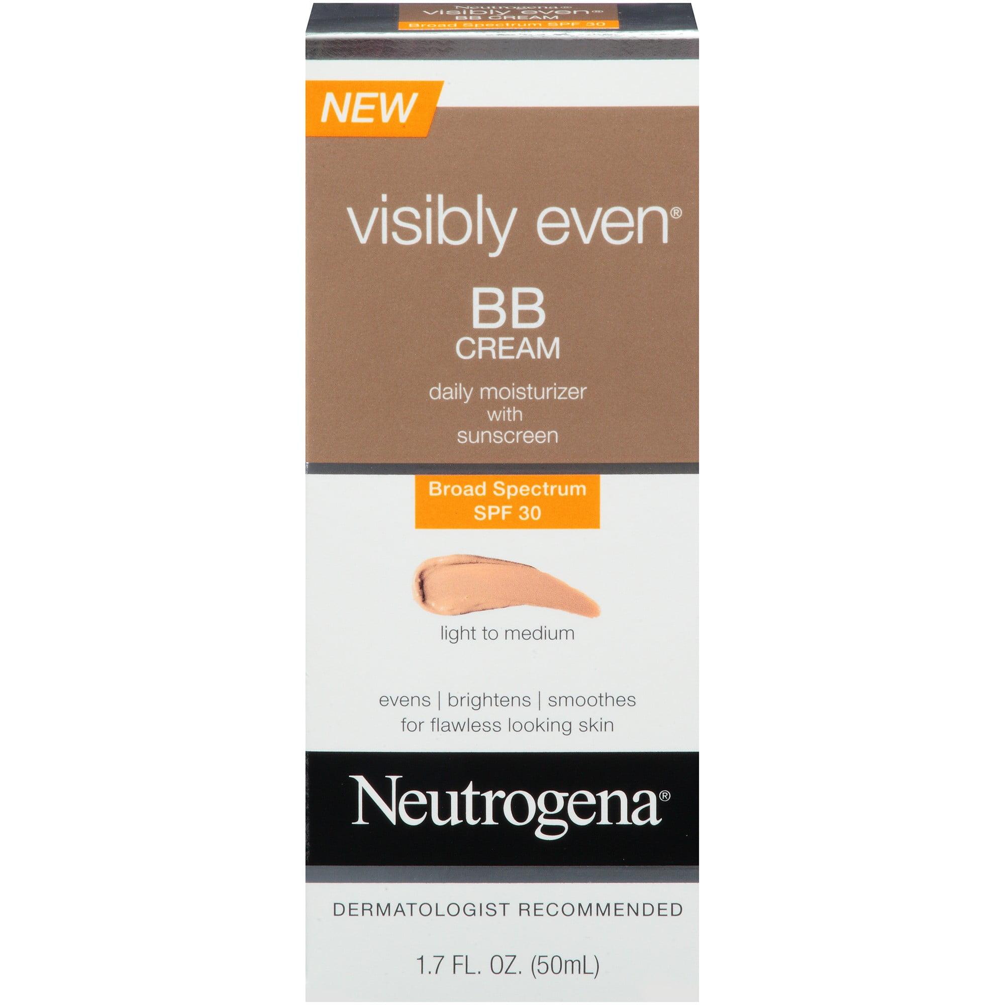 Neutrogena Visibly Even BB Cream Daily Moisturizer with SPF 30, Light/Medium, 1.7 Fl Oz