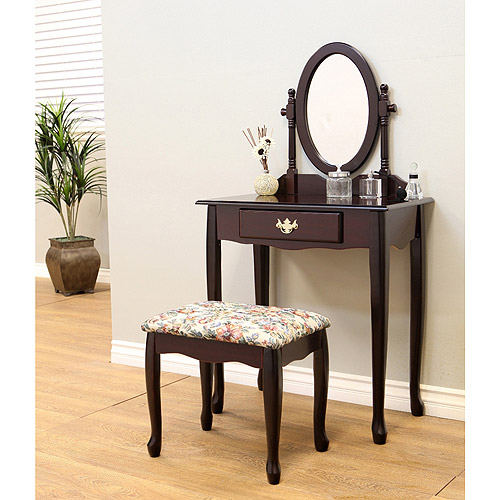 Home Craft 3-Piece Queen Ann Vanity Set, Multiple Colors