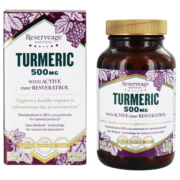 Reserveage Nutrition Turmeric With Active Resveratrol 500 Mg