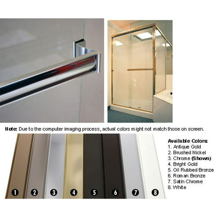 "Bright Gold Sliding Frameless Shower Door Single Towel Bar Kit - 33"" long"