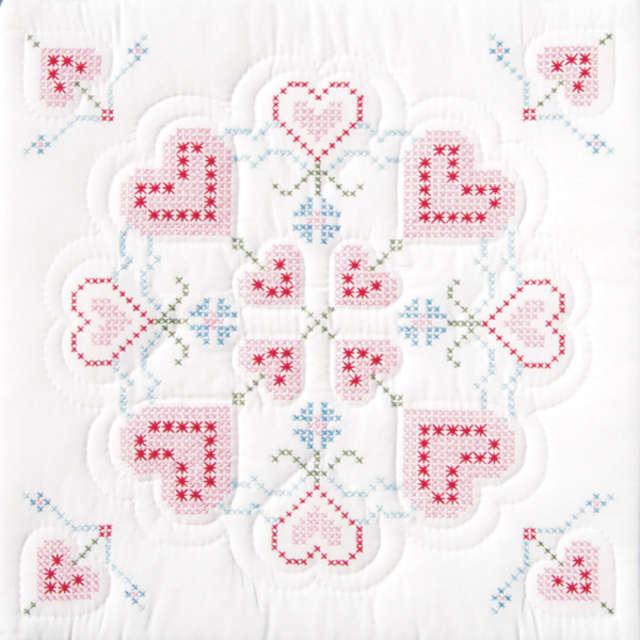 Stamped White Quilt Blocks 18 Quot X18 Quot 6 Pkg Xx Hearts