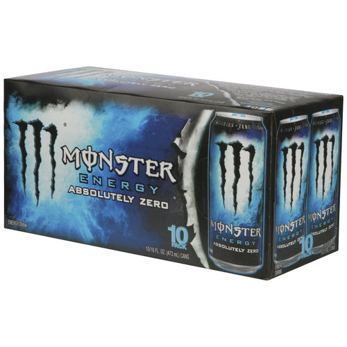 Monster Absolute Zero Energy Drinks, 16 fl oz, 10 pack