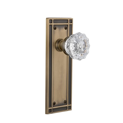 Nostalgic Warehouse Crystal Glass Single Dummy Door Knob With Mission Plate