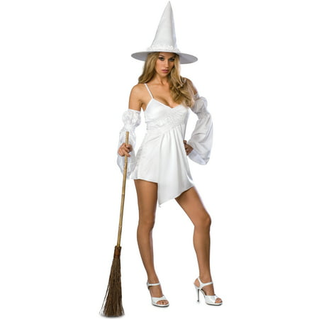 Sexy White Enchanted Wicked Witch Halloween Fancy Party Womens Costume Set (Girls White Witch Costume)